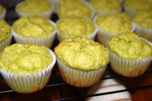 Avocado cupcakes after baking: click to enlarge