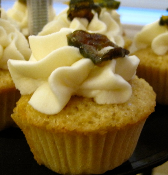 Texarcane: Sweet Corn Cake with Lime Mascarpone icing, garnished with candied jalapeno